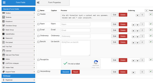RSForm Pro interface